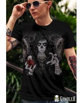 T-Shirt Zadruk przót/tył Gambler Wear Czarny