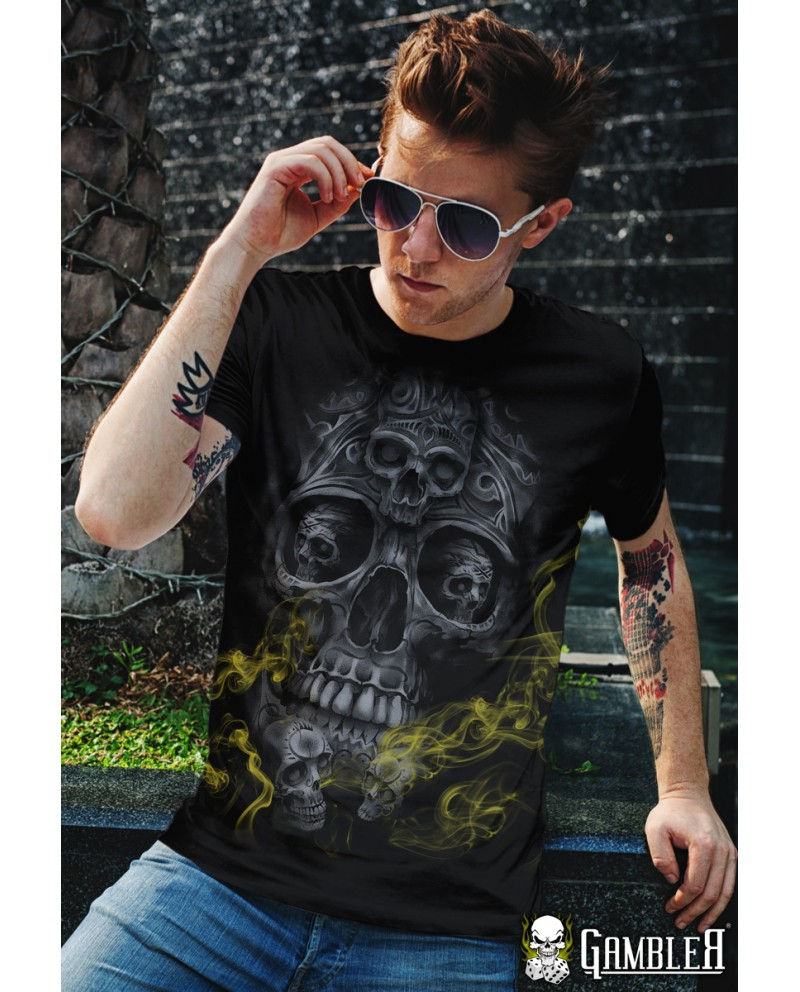 T-Shirt Smoke Skull Gambler Wear